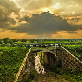 The Rays by Aravindh Ganesh - Landscapes Sunsets & Sunrises ( clouds, orange, nature, dramatic, india, architecture, bridges, pune, nikon, landscapes,  )