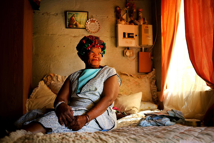 Lena Sauls who says she understands the language, in Upington, South Africa. She lives with Simon Sauls, who is purportedly one of four remaining speakers of the N|uu San language