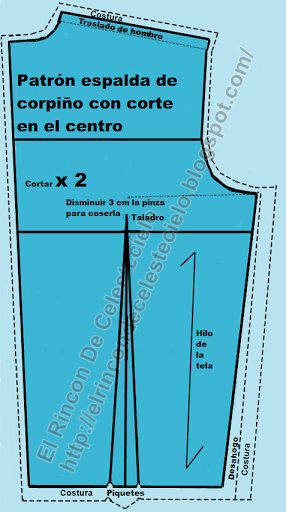 Patrón espalda de corpiño con corte en el centro con la información que se debe colocar
