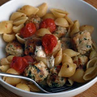 Pasta with Turkey Meatballs and Bocconcini Mozzarella.