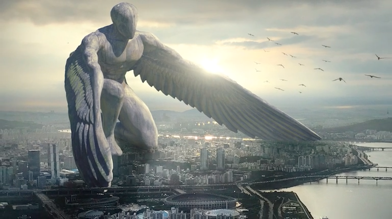 large statue world building