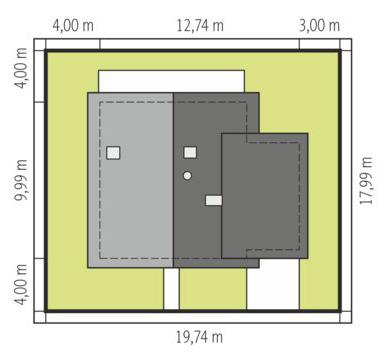 Daga - Sytuacja - wersja domu z garażem jednostanowiskowym