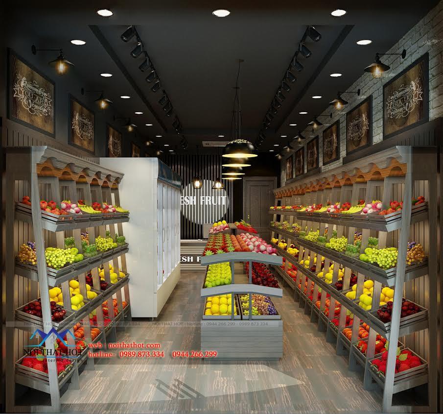Thiết kế cửa hàng bán hoa quả mộc mạc