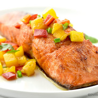 Sweet and Spicy Glazed Salmon with Peach and Pepper Relish
