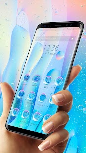 Blue Transparent Water Droplets-APUS Launcher - náhled