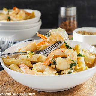Penne with Shrimp, Spinach and Goat Cheese.