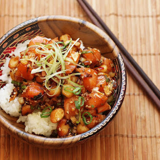 Salmon Poke With Macadamia Nuts and Fried Shallots