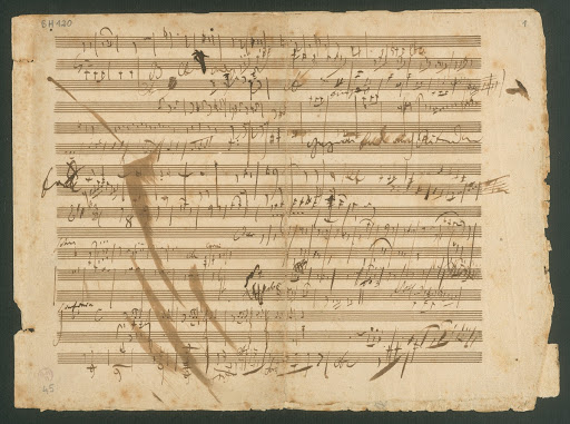 Ludwig van Beethoven, sketch sheet for symphony no. 7 op. 92, 2nd and 4th movement, autograph