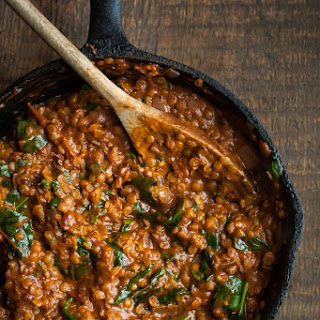 Red Lentils and Spinach in Masala Sauce.