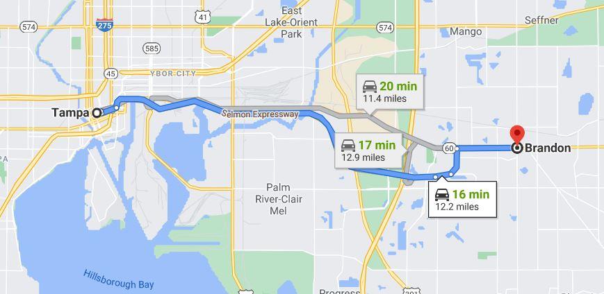 Tampa to Brandon, FL map