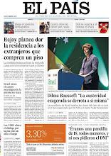 """Photo: Rajoy planea dar la residencia a los extranjeros que compren un piso; Dilma Rousseff dice que """"la austeridad exagerada se derrota a sí misma"""" e Israel ataca el centro neurálgico de la prensa en Gaza, en la portada de EL PAÍS, edición nacional, del martes 20 de noviembre de 2012 http://cort.as/2pwI"""