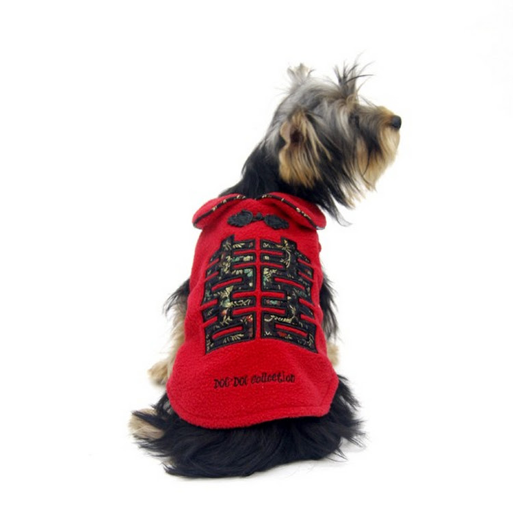 [Valentine PROMO] Red Color Double Happiness Dog Fleece Jacket by Pets Manic