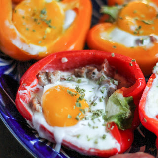 Sausage, Cheddar, and Sunny Side Up Egg Stuffed Bell Peppers