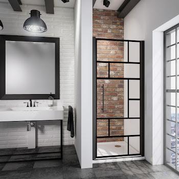 Porte de douche pivotante en niche, 80 ou 90cm, atelier, profilé noir