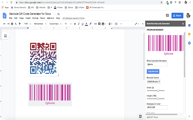 Barcode & QR Code Generator for Docs - G Suite Marketplace
