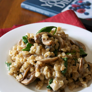 Barley Risotto with Mushrooms and Spinach (The Greek Yogurt Diet Cookbook Review).