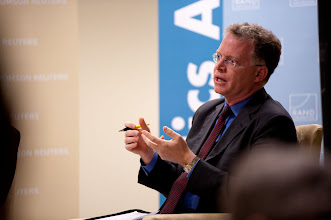 """Photo: Panelist David Rohde speaks during the """"After the Arab Spring: Turmoil and Change in the Middle East"""" panel discussion Friday, Nov. 16, 2012 at the RAND Politics Aside event in Santa Monica."""