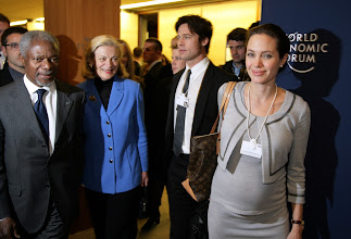 Photo: DAVOS/SWITZERLAND, 26JAN06 - FR: Angelina Jolie, UNHCR Goodwill Ambassador, Brad Pitt and Kofi Annan, Secretary-General, United Nations, New York with his spouse leaving the session 'A New Mindset for the UN' at the Annual Meeting 2006 of the World Economic Forum in Davos, Switzerland, January 26, 2006. 