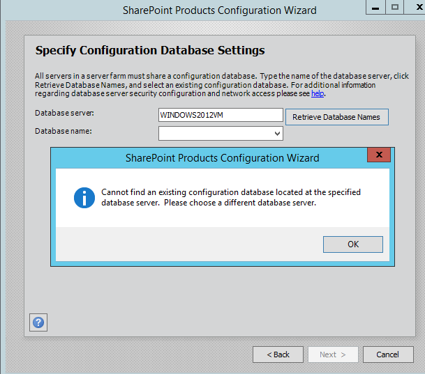 SharePoint Products Configuration Wizard Database Settings