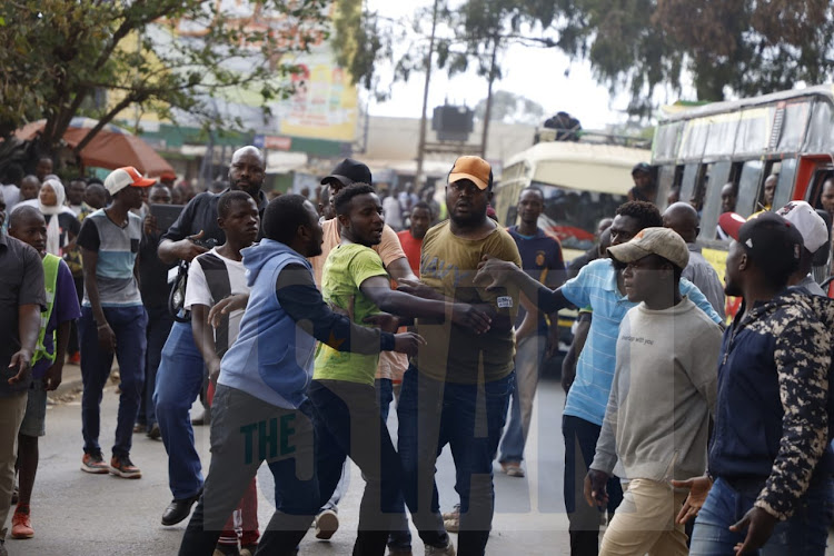 Kibera supporters about to clash./VICTOR IMBOTO