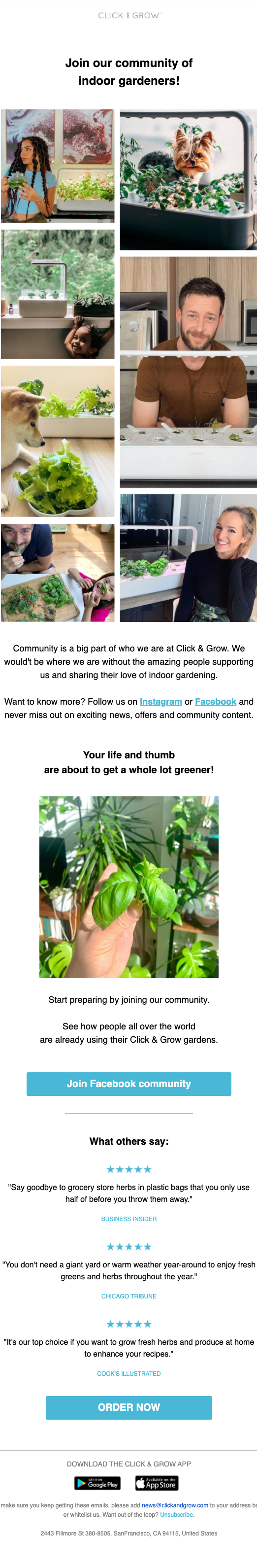 Click and Grow welcome email.