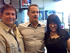 Photo: Gene Gates, Tom Hanks, Julie Gates at the KVIL/Dallas studios.  2011.