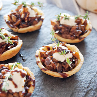 Mini Mushroom Tarts with Goat Cheese Mousse and Balsamic Glaze.