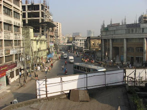 Photo: A view of oncoming traffic from the third floor residence corridor of Mahaprakash Math in Tikatuli area of old Dhaka