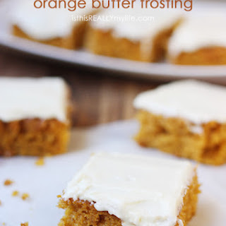 Pumpkin Bars with Orange Butter Frosting