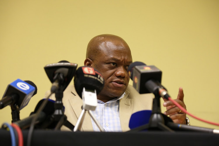Sihle Zikalala addresses media at a press conference in Durban on 15 February, 2018, after the resignation of President Jacob Zuma.