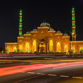 Mosque Al Salam Al Barsha by Shabbir Shani - Buildings & Architecture Places of Worship ( building, mosque, islamic culture, light trails, long exposure, architecture, iovedubai, islamic art )