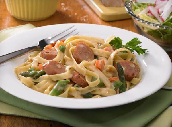 Creamy Fettuccine With Three Cheese Sausage