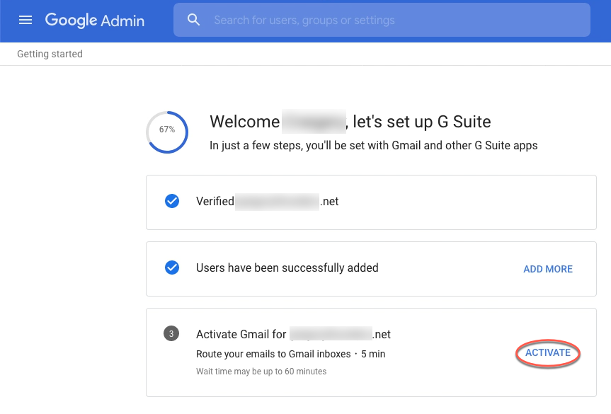 "A red circle highlights the ""Activate."" option in the Gmail section."