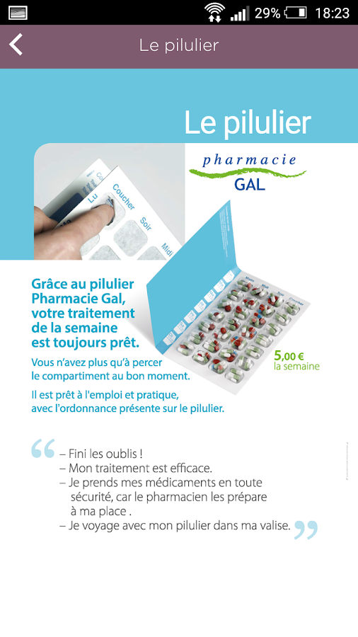 Pharmacie GAL – Capture d'écran