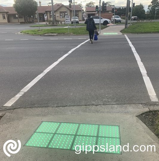Illuminated tactile paving has been installed at a Trafalgar pedestrian crossing as part of a regional-first trial, it will help with the safety of the road users