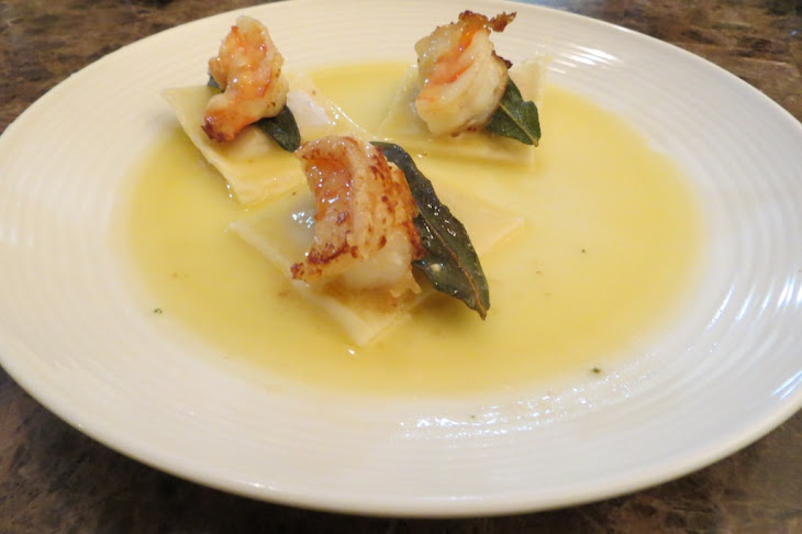 Fresh Butternut Squash Ravioli with Prawns, Fried Sage and Truffle Oil Sauce Recipe