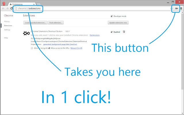 Shortcut Button for Google Chrome Extensions