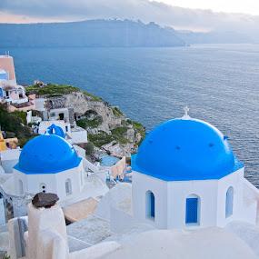 Santorini by Emanuel Torre - City,  Street & Park  Street Scenes ( europe, blue, greece, sea, santorini )