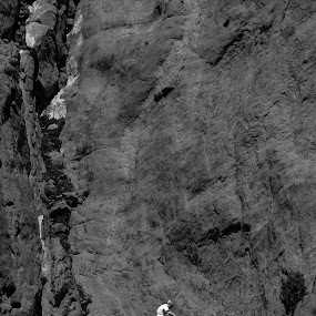 Everyone has their own mountain to climb by Travis Wessel - Black & White Abstract ( endurance, mountain, struggle, strength, patience, climber,  )