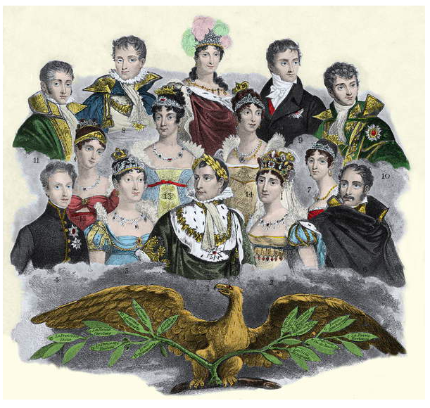Image of Napoleon Bonaparte and his family, 1840, Unknown Artist, (19th century) / Private Collection © Giancarlo Costa / Bridgeman Images
