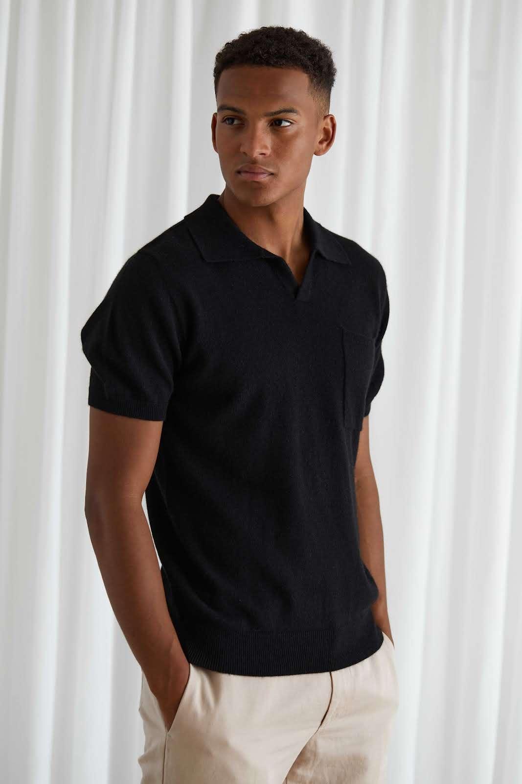 Man Open Collar T-shirt