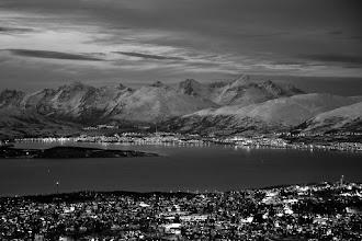 Photo: Tromsø in twilight - winter - B&W