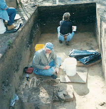 Photo: G. Mikell and Dr. Becky Saunders clearing burials for documentation.