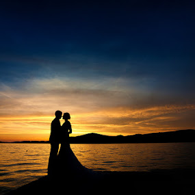 by Zeljko Marcina - Wedding Bride & Groom ( sunset, wedding, croatia, sea, split, bride, groom,  )