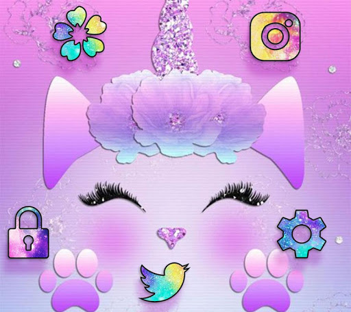Galaxy Cute Unicorn Glitter Theme for PC