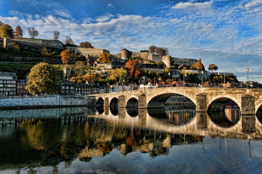 Namur by Dominic Jacob - Buildings & Architecture Public & Historical ( namur, reflection, meuse, citadel, belgium,  )