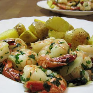 Shrimps and Patatas Bravas
