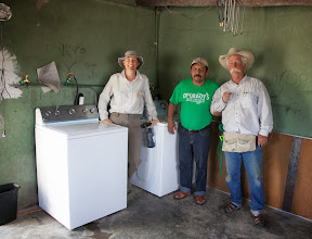 Photo: Jocelyn, Profe, Tommy with new washers we installed