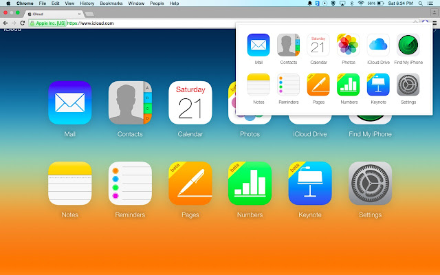 Icloud dashboard chrome web store an incredibly simple way to access your icloud web apps stopboris Choice Image