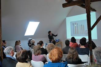 Photo: Annemarie gaf op de openingsdag een presentatie over haar werk...
